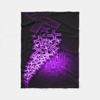 宗教フラクタルの紫色 フリースブランケット