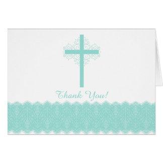 宗教モダンで真新しいレースの十字はノート感謝していしています カード