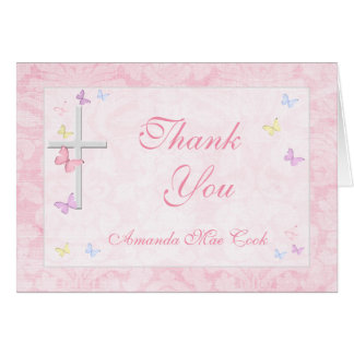宗教十字の蝶女の子のサンキューカード カード