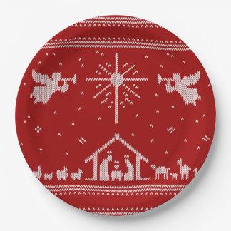 宗教編まれた出生の醜いクリスマスのセーター ペーパープレート