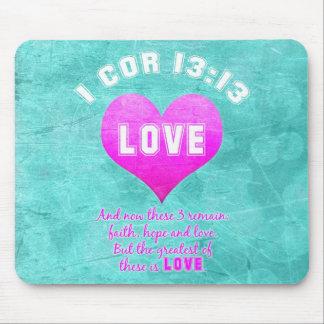 宗教1つのイングリッシュホーンの13:13愛キリスト教の聖書の詩 マウスパッド