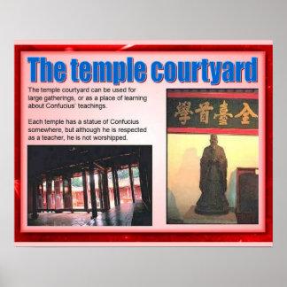 宗教、儒教、寺院の中庭 ポスター