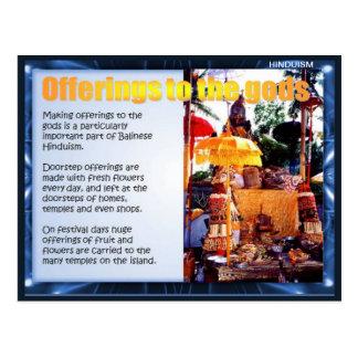 宗教、神へのバリ島の供物 ポストカード