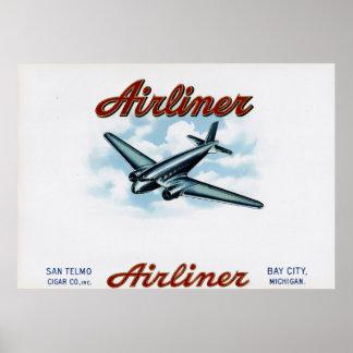 定期旅客機のヴィンテージのタバコ入れのラベル ポスター