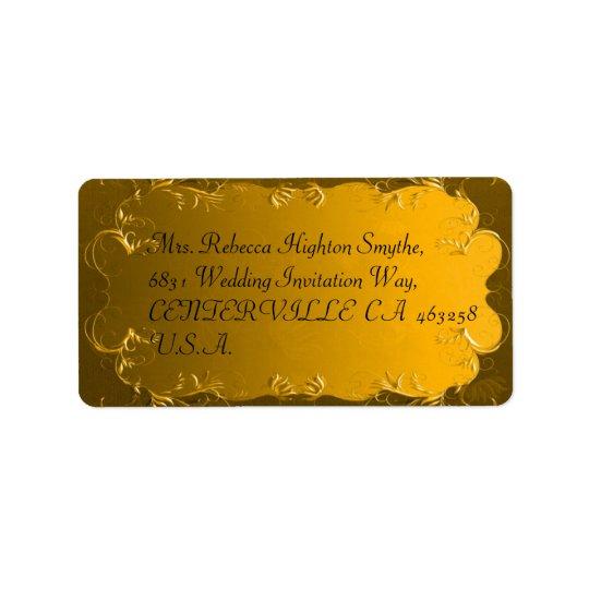 宛名ラベルを結婚するエレガントな金ゴールド ラベル