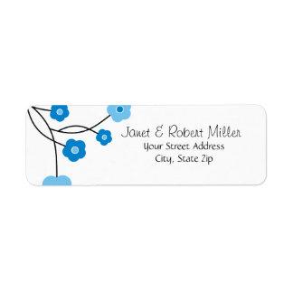 宛名ラベルを郵送するコンテンポラリーで青い花 ラベル