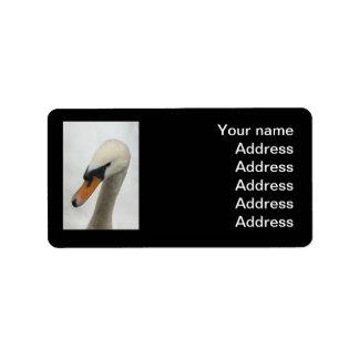 宛名ラベル-白いマクロ白鳥 ラベル