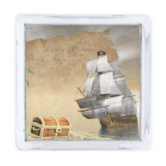 宝物を見つける海賊船- 3Dは描写します シルバー ラペルピン