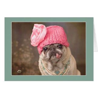 宝石およびピンクの帽子の大切なパグカード カード