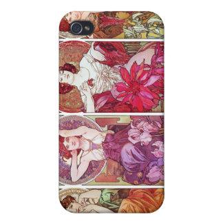 宝石および花のアルフォンス島のミュシャ iPhone 4/4S ケース
