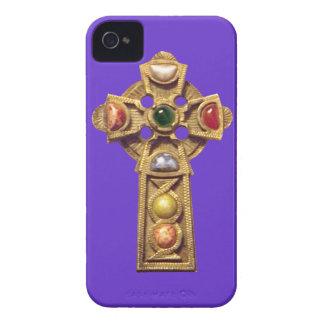 宝石で飾られたケルト族のキリスト教のiphone 4ケースの紫色 Case-Mate iPhone 4 ケース