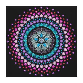 宝石で飾られたダイヤモンドのハートの爆発のキャンバス キャンバスプリント