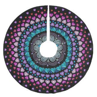 宝石で飾られたダイヤモンドのハートの爆発パターン ブラッシュドポリエステルツリースカート