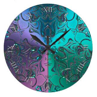 宝石で飾られた曼荼羅のカッコいいの色がついた金属勾配 ラージ壁時計