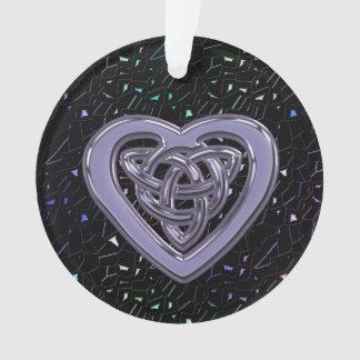 宝石で飾られる虹はケルト族のハートの結び目と光っています オーナメント
