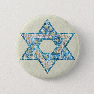 宝石によって飾られるダビデの星 5.7CM 丸型バッジ