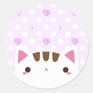 宝石のハートおよび月が付いているかわいい猫のステッカー ラウンドシール