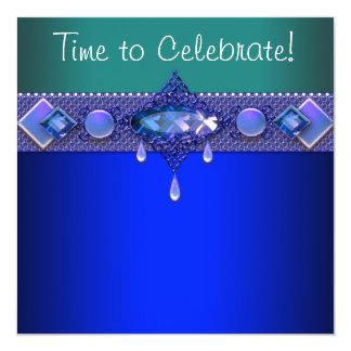 宝石のロイヤルブルーのヒスイ緑の女性の誕生会 13.3 スクエアインビテーションカード