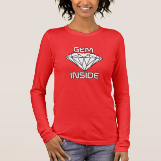宝石の内部-ダイヤモンドの白い黒のボーダー 長袖Tシャツ
