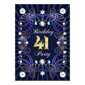 宝石の固まりとの第41誕生会の招待 カード