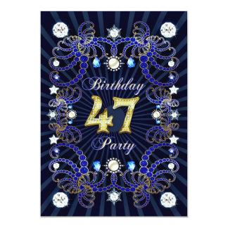 宝石の固まりとの第47誕生会の招待 カード