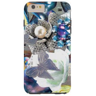 宝石の花の蝶銀のコラージュ TOUGH iPhone 6 PLUS ケース