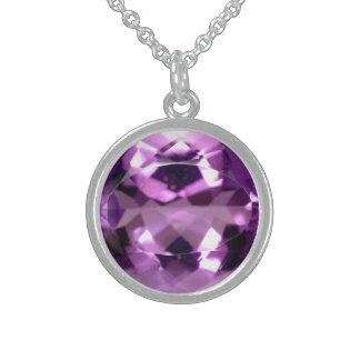 宝石の2月の光沢があるすみれ色の紫色のbirthstone スターリングシルバーネックレス