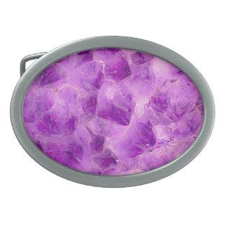 宝石パターン、紫色のアメジスト 卵形バックル