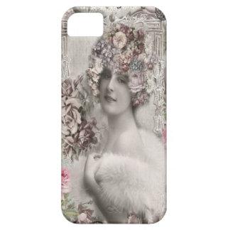宝石及び花を持つ美しいヴィンテージの女性 iPhone SE/5/5s ケース