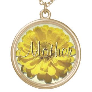 """宝石類-ネックレス-黄色い《植物》百日草""""母"""" ゴールドプレートネックレス"""