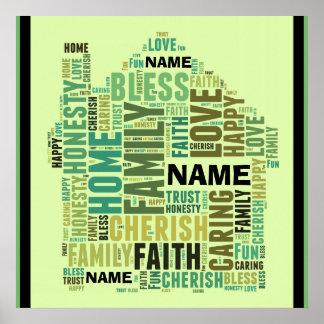 実家は加えます名前を個人化します単語をカスタマイズ ポスター