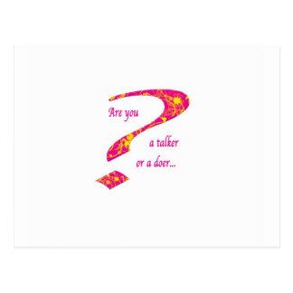 実行家または話者の質問ピンク ポストカード
