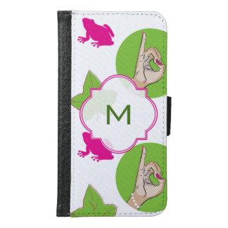 実質のかわいらしいピンクおよび緑の絵 GALAXY S6 ウォレットケース