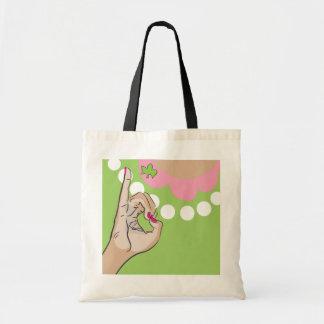 実質のかわいらしいピンクのイラストレーション トートバッグ