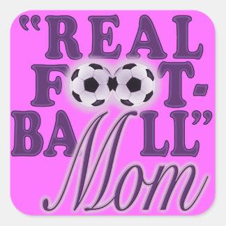 実質のフットボールのお母さん(紫色) スクエアシール