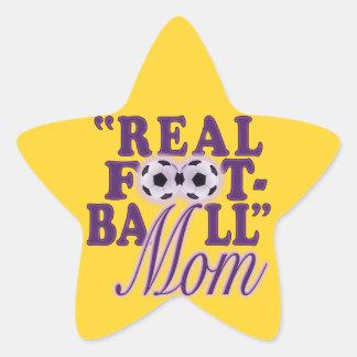 実質のフットボールのお母さん(紫色) 星シール