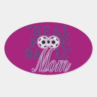 実質のフットボールのお母さん(紫色) 楕円形シール
