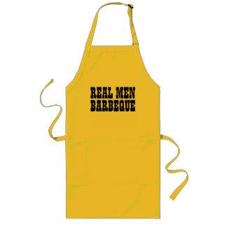 実質の人は|の男性へ黄色い黒BBQのエプロンをバーベキューで料理します ロングエプロン