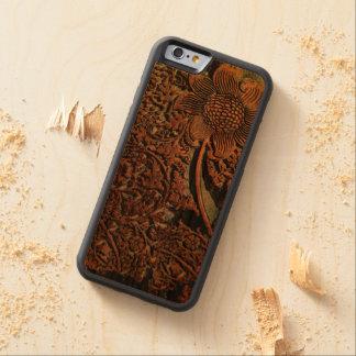 実質の木製のウィリアム・モリスパターンiPhone6ケース CarvedチェリーiPhone 6バンパーケース