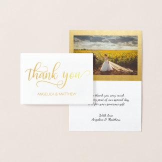 実質の金ゴールドホイルは写真との結婚式|感謝していしています 箔カード