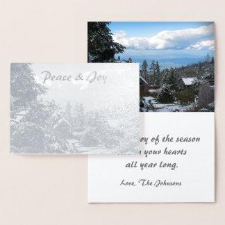 実質の銀ぱくの休日の平和及び喜びMt. LeConte 箔カード