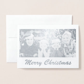 実質の銀ぱくの家族写真のクリスマスカード 箔カード