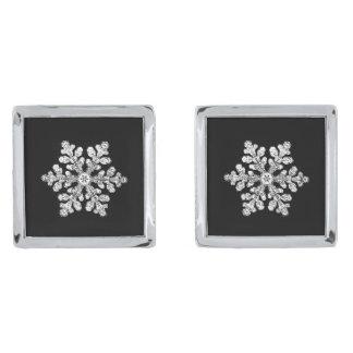 実質の雪片 シルバー カフスボタン