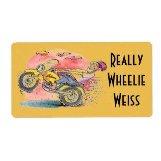 実際にバイクもしくは自転車に乗る人のHomebrewビールWheelieのWeissのラベル ラベル