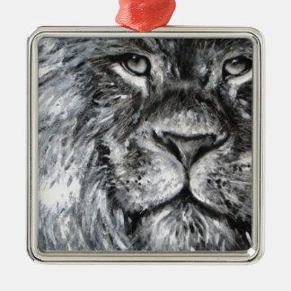 実際のところライオンの白黒絵画 メタルオーナメント