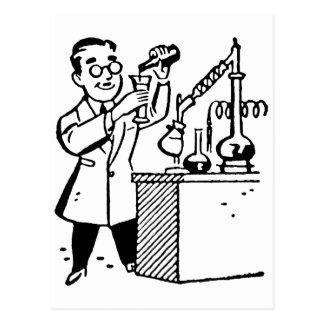 実験室のコートの混合の化学薬品の科学者 ポストカード