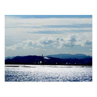 宮島からの近くの対岸へ見える工業地帯の春の昼日和り☆ 葉書き