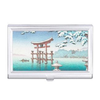 宮島のhangaの冬の景色のwatererscapeの雪 名刺入れ