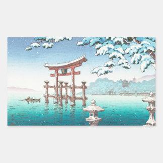 宮島のhangaの冬の景色のwatererscapeの雪 長方形シール