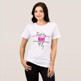 害のかわいらしい女の子のはえの女性の適当なジャージーのTシャツ Tシャツ